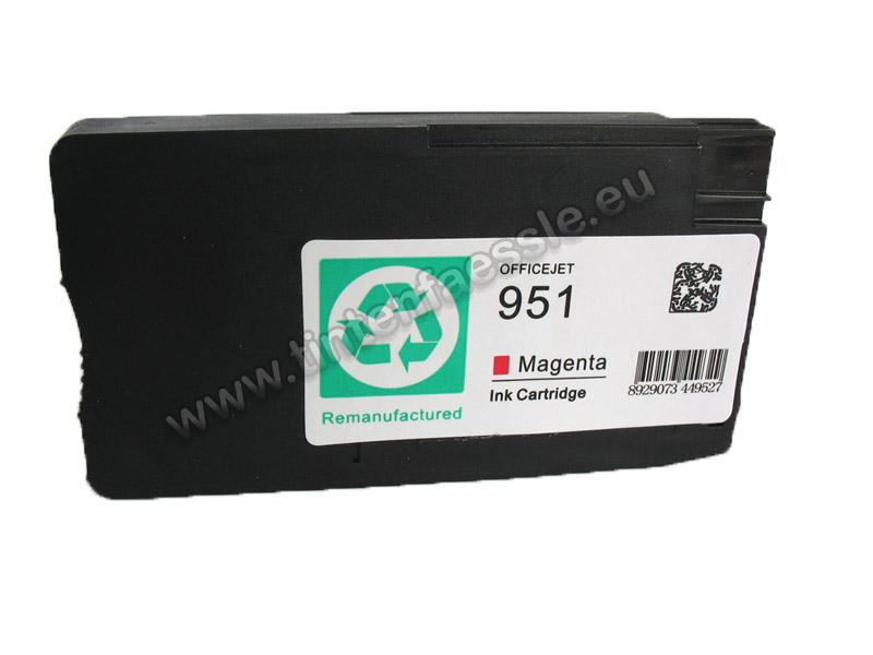 HP 951 XL kompatible Tintenpatrone, magenta, Optional mit Dye-Tinte oder pigmentierter Tinte 14ml, ersetzt CN047E (Tintentyp: Dye-Tinte) HP951ma-DT