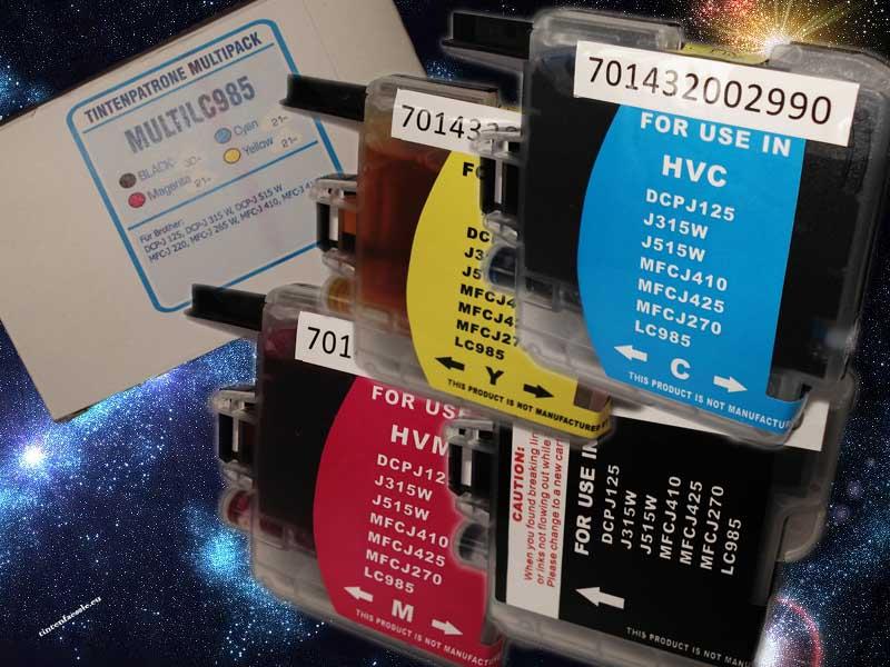 Multipack Brother LC 985, 10 kompatible Druckerpatronen 2002993-+HP932xl-BK
