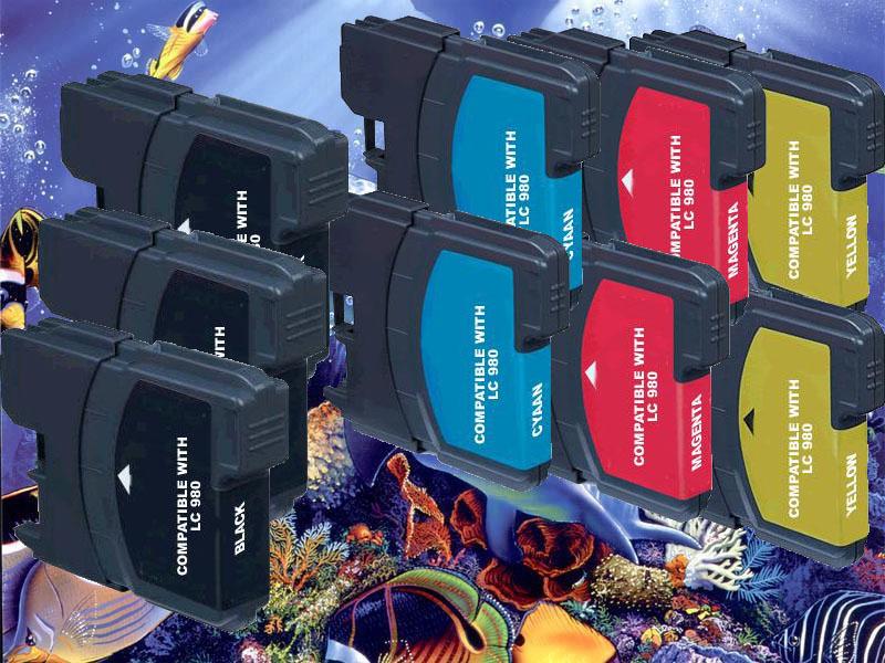 Multipack, 9 kompatible Brother Druckerpatronen LC 1100, ersetzt die Brother LC1100BK/C/M/Y multi1100-+HP932xl-BK